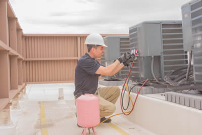 Commercial HVAC unit with contractor